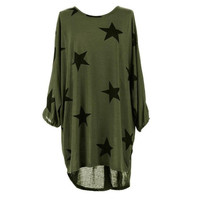 T shirt Women Long Style Plus Size Batwing Sleeve Stars Print Tunic T-Shirt Tee Tops Female Camisetas Mujer Verano #23 SM6