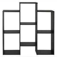 Modern Cube Bookcase With Open Shelves Sturdy Home Office Furniture Black Finish