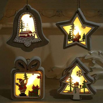 New Christmas Decorations Christmas Luminous Wooden Pendant with Lights Christmas Tree Pendant Christmas Gift