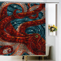 mosaic octopus shower curtains