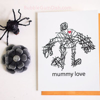 Cute Halloween Mummy Love Red Heart A2 Note Card Funny Greeting Card