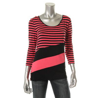 Cable & Gauge Womens Striped Scoop Neck Knit Top