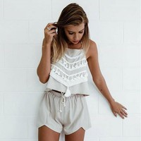 Fashion Lace Up Drawstring Halter Two-Piece Suit