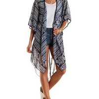 Navy Combo Crochet Trim Paisley Duster Kimono by Charlotte Russe