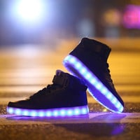 Colorful Flashing LED Luminous Shoes High-Top Men and Women Couple High Shoes Fluorescent Light Shoes = 1929864836