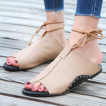 Fashion New Flat-soled 43-yard Women's Sandals and Slippers Coffee