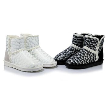 Winter Genuine Leather Floral Printed Snow Boots 2534