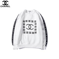 2018 autumn new tide brand letter logo printing men and women round neck long sleeve pullover sweater white