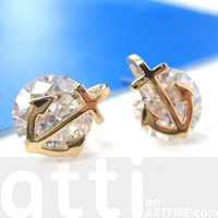 Small Nautical Anchor Stud Earrings in Gold With Rhinestones