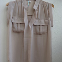 Nude sheer placket pocket top shirt cap sleeve blouse | Threadflip - One of a kind Designer Bags, Indie Dresses, Vintage Jewelry and More!