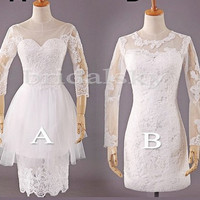 1980s Vintage Style White Lace Formal Party Evening Dresses Prom Dresses Bridesmaid Dresses Wedding Events