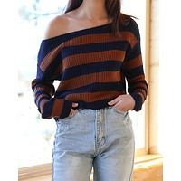 Cotton Candy LA - Off the Shoulder Striped Cropped Women's Sweater in Navy