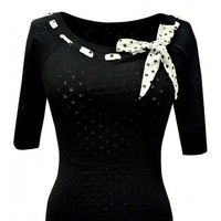 COLLECTIF STEFANIA POLKA DOT SCARF KNITTED TOP
