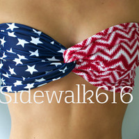 Red Chevron and Navy Stars Bandeau Top Spandex Bandeau American Bandeau Bikini