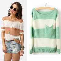 Wide stripes mixed colors small pocket sweater BABHDE