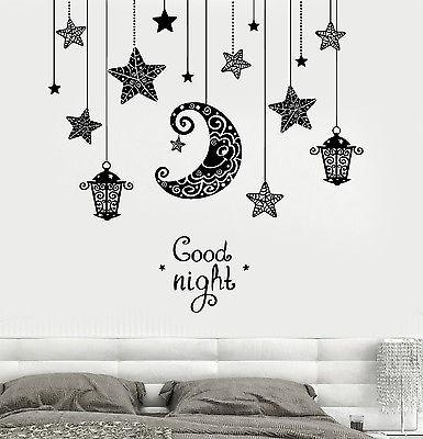 Image of Vinyl Decal Wall Quote Good Night Moon Stars Candle Lantern Light Romantic Sticker for Bedroom Unique Gift (z3191)