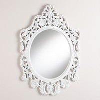 White Oval Olivia Carved Mirror | World Market