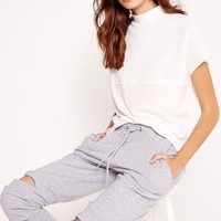 Missguided - Turtle Neck Perforated Tank Top White