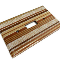 Brown Stripes Light Switch Plate, Stripes and Script, Single Light Switch, Decoupage, Varnish
