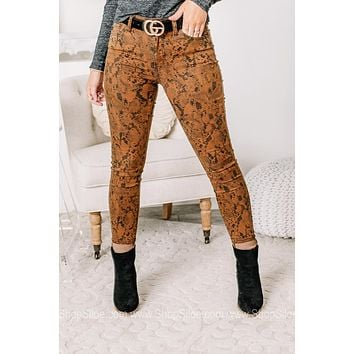 Use Your Imagination Tan Snake Print Jeans