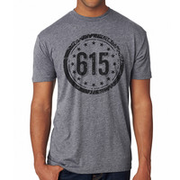 Adult 615 Area Code on a Grey T-Shirt