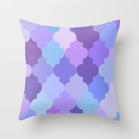 Constantine Lattice Purple-Blue Throw Pillow by House of Jennifer