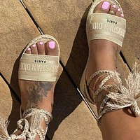 DIOR Popular Women Retro Canvas Embroidery Sandals Shoes