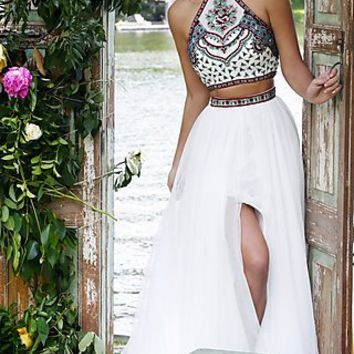 Sherri Hill Two Piece Dress with Embroidered Top