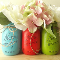 Three Hand Painted Mason Jars, Rustic - Style, Painted Mason Jars - bright blue, orange and green