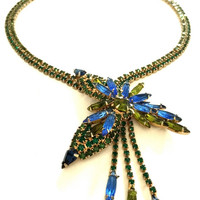 Alice Caviness Green and Blue Rhinestone Necklace