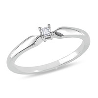 Princess-Cut Diamond Accent Solitaire Promise Ring in Sterling Silver