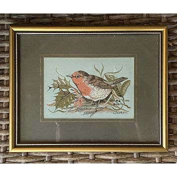 Vintage English Woven Silk Robin Bird on  Berry Branch Matted in Gold Frame