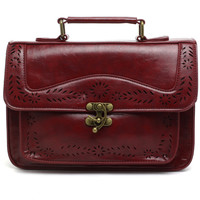Wine Vintage Satchel Bag with Cut Out Detail  Red