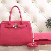 Hermes Women Fashion Leather Satchel Tote Handbag Shoulder Bag Crossbody Set Two-Piece-13