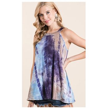 CLOSEOUT! Positive Vibes-Eggplant Navy Tie Dye Halter Top