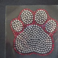"""Paw Tracks Rhinestone Iron On T Shirt Transfer """"4 Colors To Choose From""""   AihaZone Store"""
