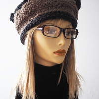 Chunky knit hat / Taupe and charcoal gray hat / Tan crown / OOAK crochet hat / Dark grey crochet hat / Woman winter hat / Teen girl hat