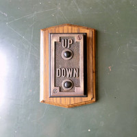 Antique Elevator Button, Turn Of The Century Up Down Elevator Button, Industrial Decor, Art Deco Home Decor