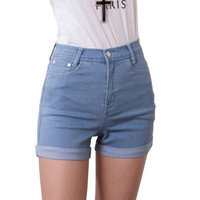 2014 New Fashion women's jeans Summer High Waist Stretch Denim Shorts Slim Korean Casual women Jeans Shorts Hot Plus Size