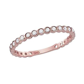 10k Rose Gold Round Diamond Bezel Set Stackable Band Ring 1/5 Ctw