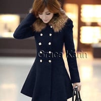 Fashion Women Winter Wool Coat Jacket Double Breasted Pea Coat Trench Coat Parka