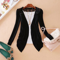 Women's Hem Long Sleeve Slim Thin Lace Hollow Out jacket