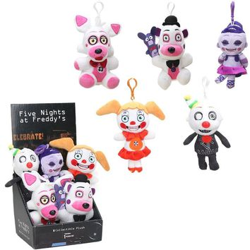 6pcs Funtime  At  Keychains with Box 15cm Freddy Fazbear Ennard Circus Baby Dolls Sister Location  Toys