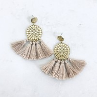 Dance With Me Mauve Tassel Earrings