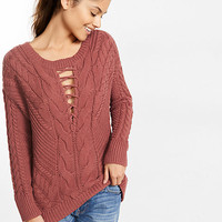 lace-up inset cable knit sweater