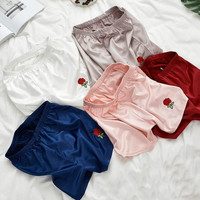 One rose embroidery Pajamas pants summer thin section loose shorts