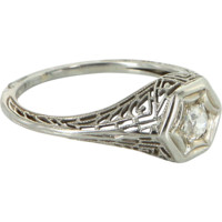 Vintage Deco Mine Diamond Filigree Ring 18k White Gold Estate Fine Jewelry Sz 5