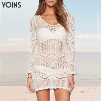 YOINS 2016 New Arrival White See-Through Lace Crochet Dress Woman Bodycon Beach Cover-up Sexy Swimsuit Fashion Bathingsuit Brand