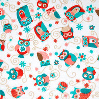 Minky Baby Blanket  White with Coral  and Teal Owls and  Minky Dot Back  Car Seat or Stroller  29 x 36