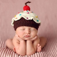 Cupcake Crochet hat with a Cherry on Top Newborn Infant Baby